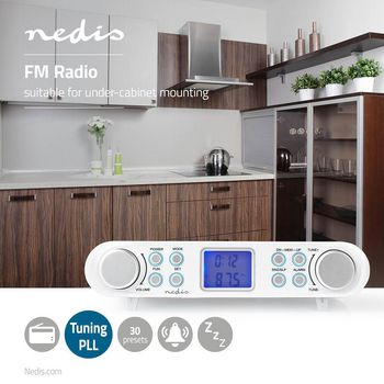 FM Radio | Under-Cabinet Radio | 30 Preset Stations | Display with Automatic Dimmer | White