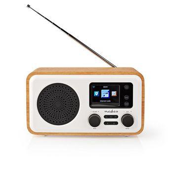 "Internetradio | Tisch Ausführumg | Bluetooth® / Wi-Fi | DAB+ / FM / Internet | 2.4 "" | Farbbildschirm | 7 W | ferngesteuert | App gesteuert | Wecker | Weiss/Holz"