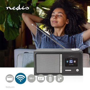 "Internetradio | Tisch Ausführumg | Bluetooth® / Wi-Fi | FM / Internet | 2.4 "" | Farbbildschirm | 18 W | ferngesteuert | App gesteuert | Kopfhörerausgang | Wecker | Sleep Timer | Schwarz"