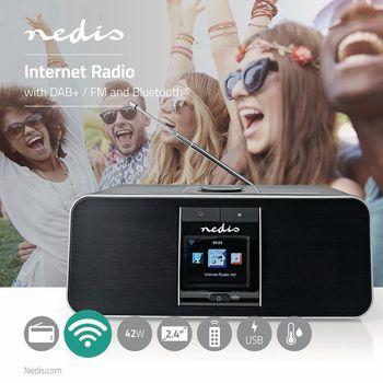 "Internet Radio | Table Design | Bluetooth® / Wi-Fi | DAB+ / FM / Internet | 2.4 "" | Colour Screen | 42 W | Remote controlled | App controlled | Headphone output | Alarm clock | Sleep timer | Black"