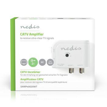 CATV-Forsterker | Maks. 15 dB forsterkning | 50-790 MHz | 2 Utganger | IEC