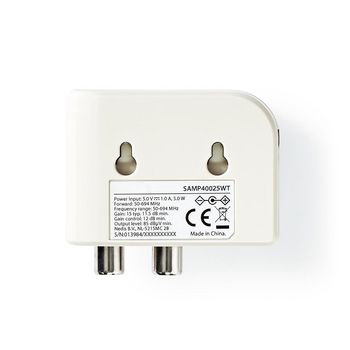 CATV Amplifier | Gain: 15 dB | 50-694 MHz | Number of outputs: 2 | Gain control | White
