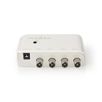 CATV Amplifier | Gain: 10 dB | 50-694 MHz | Number of outputs: 4 | Gain control | White