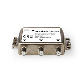 CATV Amplifier | Max. 12 dB Gain | 85 - 1218 MHz | 2 Outputs | Return Path -4.5 dB | 5 - 65 MHz | F
