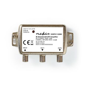 CATV Amplifier | Gain: 12 dB | 85-1218 MHz | Number of outputs: 2 | Return path | Silver