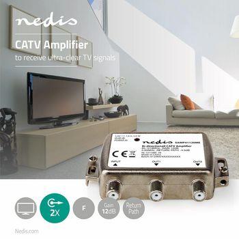 CATV-forstærker | Maks. 9 dB forstærkning | 85-1218 MHz | 2 udgange | Returvej -4,5 dB | 5-65 MHz | F