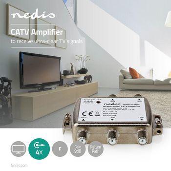 Amplificatore CATV | Guadagno Max di 12 dB | 85 - 1218 MHz | 4 Uscite | Canale di Ritorno -7.5 dB | 5 - 65 MHz | F
