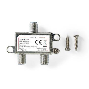 Combinador Satélite | De 2 a 1 | Conector F | VHF/UHF: 5-860 MHz | Satélite: 950-2400 MHz