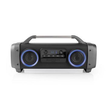 Reproductor de Audio Portátil para Fiestas | Tiempo de Reproducción de 12 horas | Tecnología Inalámbrica Bluetooth ® | Radio FM | Luces de Fiesta | Negro