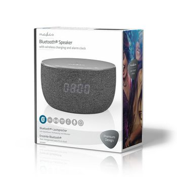 Bluetooth® Speaker with Wireless Charging | 30 W | Up to 6 Hours Playtime | Alarm Clock | Grey