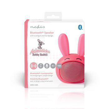 Bluetooth® Speaker | Battery play time: up to 3 Hours | Handheld Design | 9 W | Mono | Built-in microphone | Linkable | Animaticks Robby Rabbit | Pink
