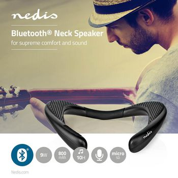 Bluetooth® Neck Speaker | 2x 4.5 W | Bluetooth® | Up to 10 Hours Playtime | Black