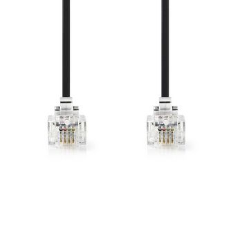 Telecom Cable | RJ11 (6P4C) Female - RJ11 (6P4C) Female | Flat | 2.00 m | Black