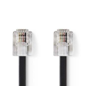 Telecom Cable | RJ11 (6P4C) Female - RJ11 (6P4C) Female | Flat | 5.00 m | Black