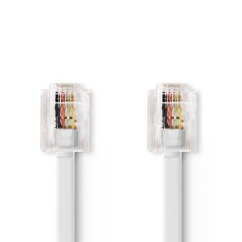 Telecom Cable | RJ11 (6P4C) Female - RJ11 (6P4C) Female | Flat | 2.00 m | White