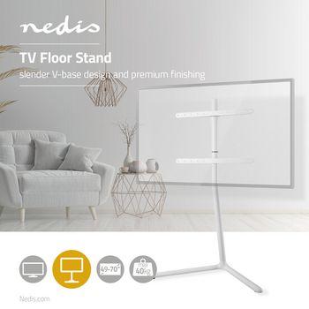 TV-vloerstandaard | 49 - 70 inch | maximaal 40 kg | Ontwerp met stevige V-voet | Wit