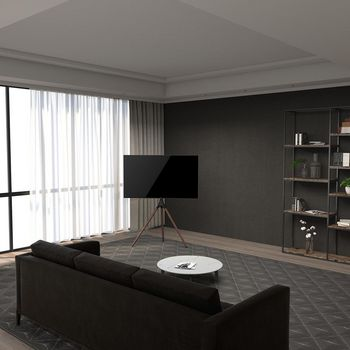 Support de Base pour Téléviseur | 55 - 65 pouces | jusqu'à 30 kg | compatible Samsung® QLED | Noir/Hêtre