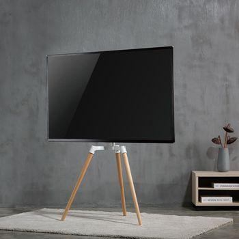 "TV Floor Stand | 50 - 65"" | up to 35 kg | Scandanavian design | White / Beech"