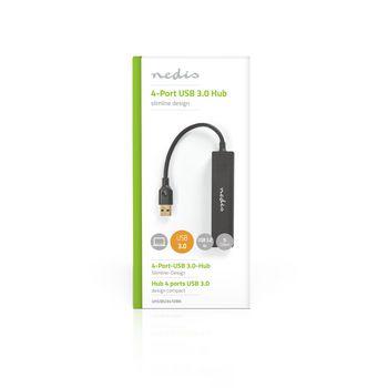 USB-Hub | 4-Poorts | USB 3.2 Gen1 | Netvoeding / USB Gevoed | 4x USB