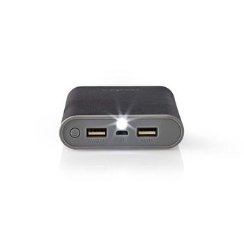 Power Bank | 10 000 mAh | 2-USB-A-utgångar 3.1A | Micro USB-ingång | Svart