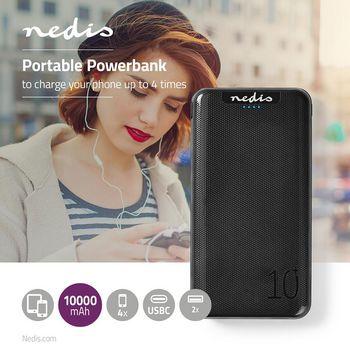 Powerbank | 10. 000 mAh | 3 Uitgangen 3.0 / 2.1 / 1.0 A | USB-C™ / Micro-USB-Ingang | Zwart