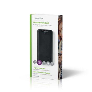 Powerbanka | 10 000 mAh | 3x Výstup 3,0 / 2,1 / 1,0 A | USB-C™ / Micro USB Vstup | Černá