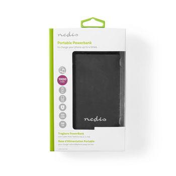 Batterie Portable | 10 000 mAh | Sortie USB-A/C 3,0 A | Entrée Micro-USB/USB-C | Noir