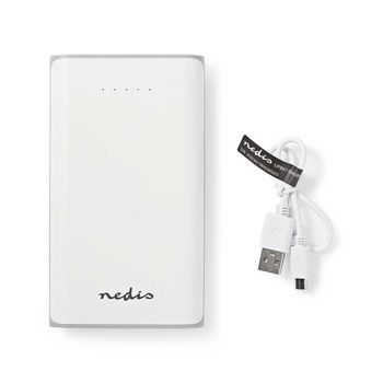 Power Bank | 15000 mAh | 2-USB-A outputs 3.1A | Micro USB input | White