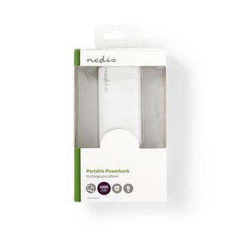 Power Bank   4000 mAh   1-USB-A output 1.0A   Micro USB input   White