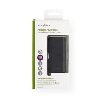 Power Bank | 5 000 mAh | 1-USB-A-utgång 1.0A | Micro USB-ingång | Svart