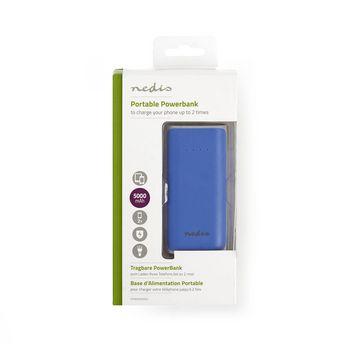 Power Bank | 5 000 mAh | 1-USB-A-utgång 1.0A | Micro USB-ingång | Blå