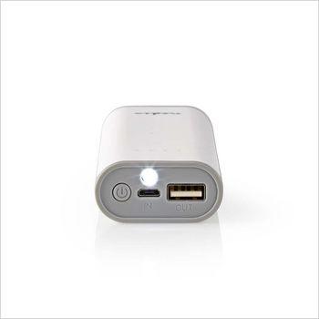 Power Bank   5 000 mAh   1-USB-A-utgång 1.0A   Micro USB-ingång   Vit