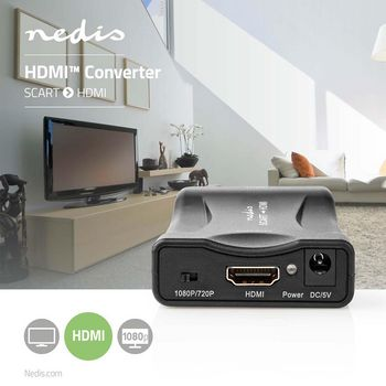 HDMI™ Converter | SCART Female | HDMI™ Input | 1-way | 1080p | 1.2 Gbps | ABS | Black