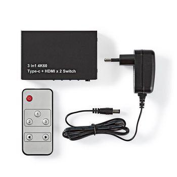 HDMI™-Switch | 3-Poorts - 2x HDMI™ + 1 x USB-C-Ingang | 1x HDMI™-Uitgang | 4K2K bij 60FPS/HDCP2.2