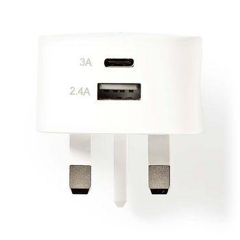 Chargeur Mural | 3.4 A | USB / USB-C | Blanc | Prise Britannique