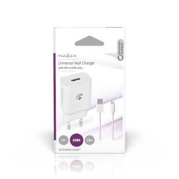 Väggladdare | 1x 2.1 A | Antal utgångar: 1 | Port typ: 1x USB-A | Micro USB (Lös) Kabel | 1.00 m | 10.50 W | Enkel Spänningsutgång