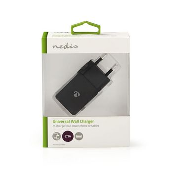 Wall Charger | 2.1 A | 1-output | USB-A | Black