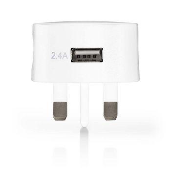 Wall Charger | 2.4 A | USB | White | UK Plug