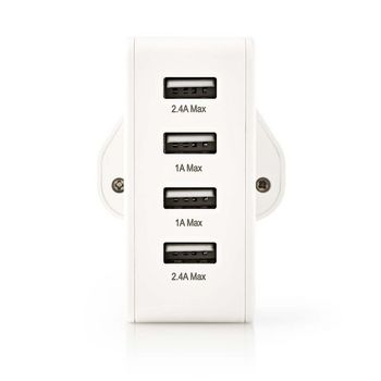 Wall Charger | 4.8 A | 4x USB | White | UK Plug