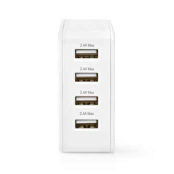 Wall Charger | 4.8 A | 4-outputs | USB-A | White