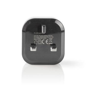 Chargeur Mural | 3.0 A | USB-C | Power Delivery 18 W | Noir | Prise Britannique