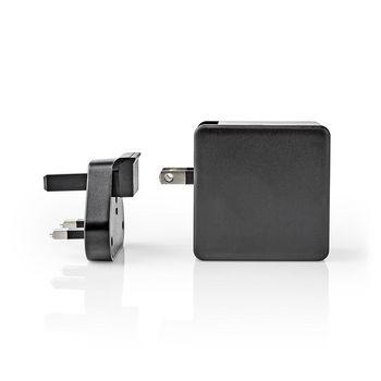 Chargeur Mural | 3.0 A | USB (QC) / USB-C | Power Delivery 30 W | Noir | Prise Britannique