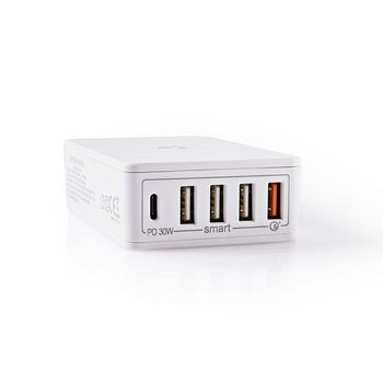 Chargeur Mural | 3,0 A | Sorties USB (QC)/USB-C | Power Delivery 30 W | Blanc