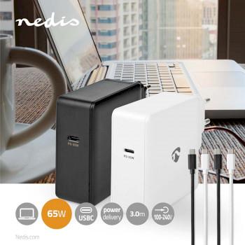Netzladegerät | 3.0 A / 3.25 A | Anzahl der Ausgänge: 1 | Port Type: 1x USB-C™ | USB Type-C™ (Lose) Kabel | 3.00 m | 15 / 27 / 36 / 45 / 65 W | Automatische Spannungswahl