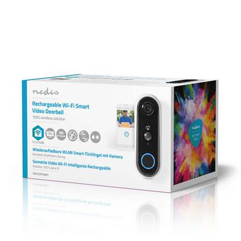 SmartLife Videodeurbel | Wi-Fi | Batterij Gevoed | Android™ & iOS | HD 720p | Cloud / MicroSD | IP54 | Met bewegingssensor | Nachtzicht | Wit/Zwart