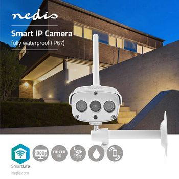 SmartLife Camera voor Buiten | Wi-Fi | Full HD 1080p | IP67 | Cloud / MicroSD | 12 VDC | Nachtzicht | Android™ & iOS | Wit