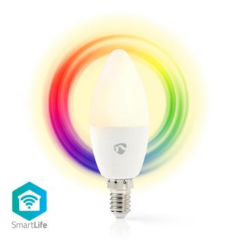 SmartLife Full Colour Bulb | E14 | 350 lm | 4.5 W | Dimmable White / RGB / Warm White | RGB + 2700 K | Energy class: A+ | Android™ & iOS | Wi-Fi | Diameter: 37 mm | Candle