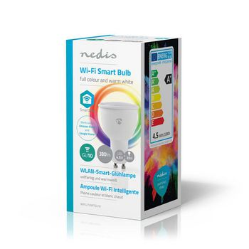 SmartLife Full Colour Bulb | GU10 | 380 lm | 4.5 W | Dimmable White / RGB / Warm White | RGB + 2700 K | Energy class: A+ | Android™ & iOS | Wi-Fi | Diameter: 50 mm | PAR16