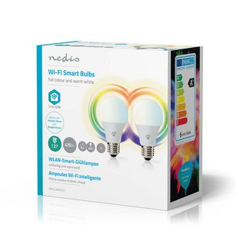 WiFi Smart LED Bulbs | Full Colour and Warm White | E27 | 2 pack