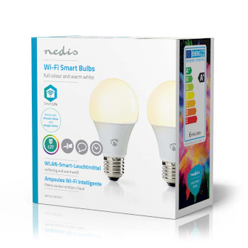 Wi-Fi Smart LED Bulb | Full Colour and Warm White | E27 | 2-Pack